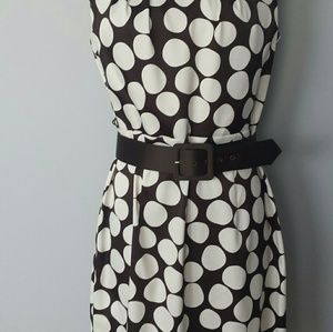 AB Studio dark brown with white polka dots dress